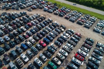 Aerial drone photo junk yard for cars automobile