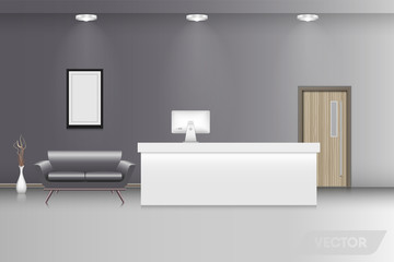 Reception counter and interior decorative, Vector design