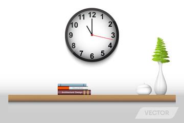 Book shelf and decorative interior, Vector design