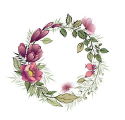 Beautiful floral wreath for your text. Wedding invitation. Vector watercolor illustration
