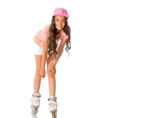 Asian teen girl roller-skating.