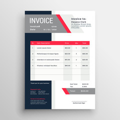 professional invoice template in red theme