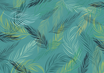 Background image with leaf pattern. Multi color. Vector illustration