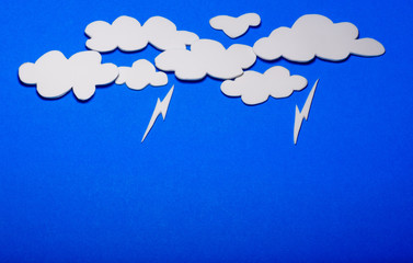 cloud with rain background,  white paper cloud with blue background, blue sky, raining