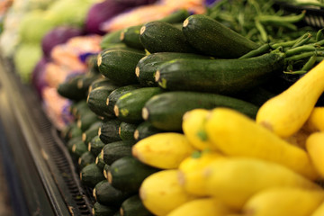 Fresh squash and zucchini at a local market.