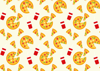 pizza and drink pattern background