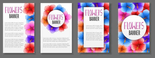 Vector abstract square colorful banner or invitation cards with tropical hibiscus realistic flowers,horizontal advertising business banner layout template for website design. Banner with floral