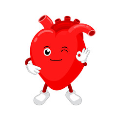 Cute and funny, smiling red heart character. Human internal organ mascot showing okay hand sign. Healthcare concept, vector illustration isolated on white background.
