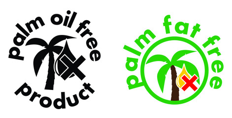 Palm oil/fat free product icon. Tree and drop symbol with cross. Black and white, or colour sign version.