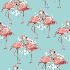 Tuinposter Flamingo seamless flamingo pattern vector illustration