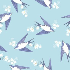 vintage pattern with little swallows