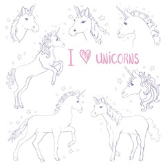 Unicorns are real quote, vector illustration drawing. Cute unicorn graphic print isolated on white background.