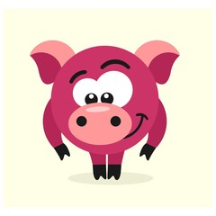 cute little pink pig mascot cartoon character