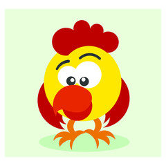 funny little yellow chicken poultry mascot cartoon character