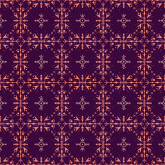 Purple seamless pattern with ethic tribal elements.