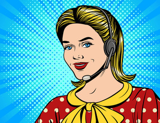 Vector colorful comic style illustration of a beautiful woman in headphones making a call. Face of young pretty girl working at call center