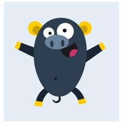 cute happy blue pig hog mascot cartoon character