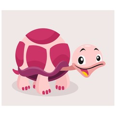 cute funny little magenta turtle tortoise mascot cartoon character