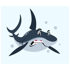 angry blue shark in the sea mascot cartoon character
