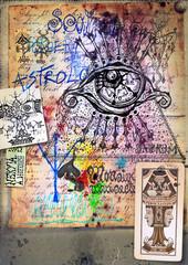 Wall Murals Imagination Alchimia - Collage e disegni esoterici, bizzarri e misteriosi