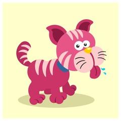 cute little funny pink magenta kitten cats mascot cartoon character