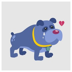 cute little dog crying broken heart mascot cartoon character