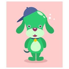 cute funny green puppies dog mascot cartoon character