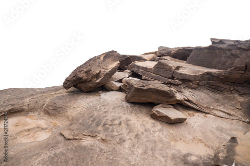 Wall mural rock isolated on white background