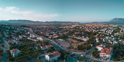 Amazing panoramic view to the Datca (Datcha) city in Turkey, city between mediterranean and aegean seas, aerial photo in the sunny evening