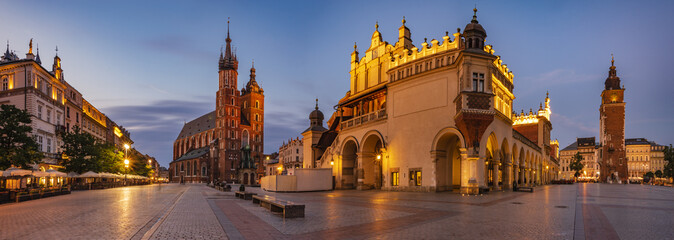 Canvas Prints Krakow Krakow Market Square, Poland - panorama