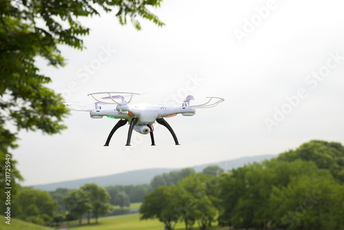 The drone in flight with signal lights produces video and