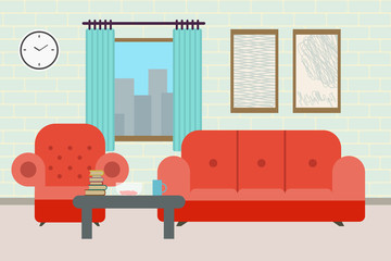 Cozy Living room interior with furniture.sofa, bookcase, table, lamps, carpet, wall picture.