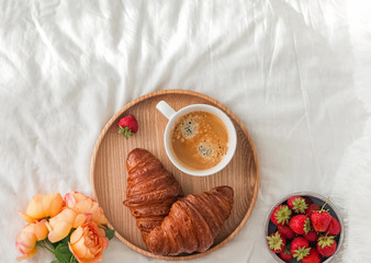 Breakfast in bed, top view