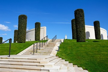 Steps leading to the front of the Armed Forces Memorial, National Memorial Arboretum, Alrewas, Staffordshire, UK.