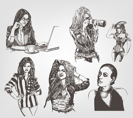 The enrolment of women in different ways. Graphic vector drawing