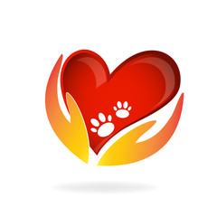 Hand love dog care footprint pet logo