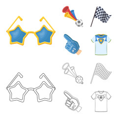 Pipe, uniform and other attributes of the fans.Fans set collection icons in cartoon,outline style vector symbol stock illustration web.
