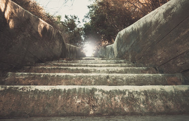 Old grungy concrete stairway