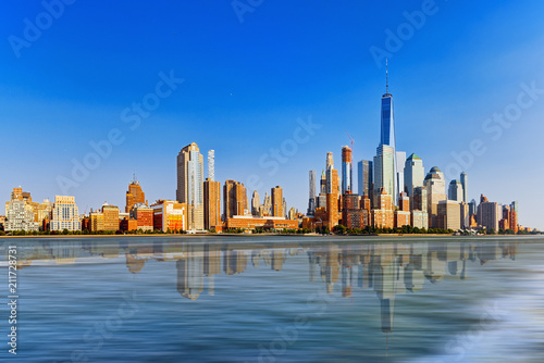 Hudson Bay New York.View From The Water From Hudson Bay To Lower Manhattan New