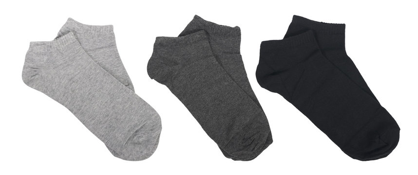 set of socks different in color isolated on white