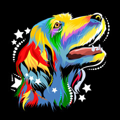 Vector image of a dog in the style of pop art