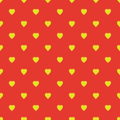 Pattern with hearts. Seamless background. Bright orange and yellow. For printing on fabric, paper, wrapper.