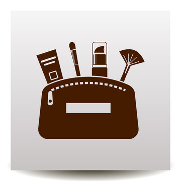 Flat icon of cosmetic products in a make up bag on a realistic paper background with shadow
