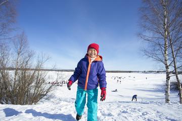 雪景色と子供