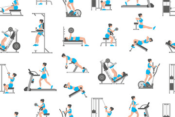 Seamless pattern with women doing exercises, flat style. isolated on white background
