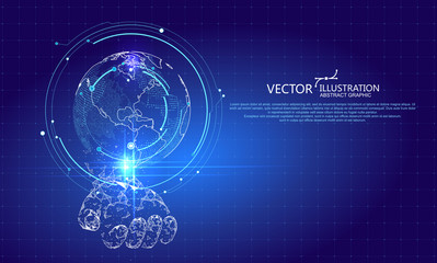 Virtual hand holds up the holographic image of the Earth, vector illustration.