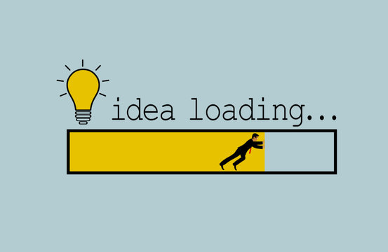Idea loading concept. light bulb icon. Businessmen pushing for success. progress bar of business finance. on white background. vector illustration
