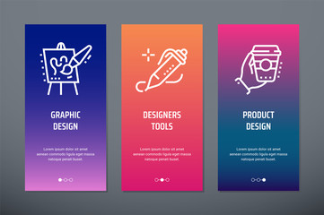 Graphic design, Designers tools, Product design Vertical Cards with strong metaphors.