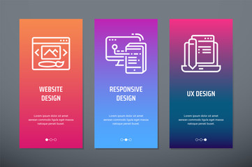 Website design, Responsive design, UX design Vertical Cards with strong metaphors.