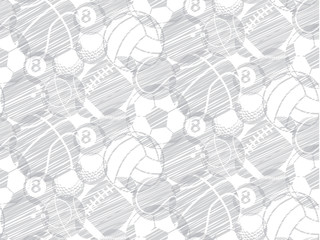 drawing sketch ball sport seamless backdrop, pattern vector set on white background